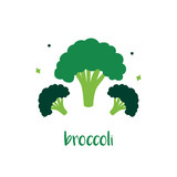 Cute vector cartoon illustraton of broccoli isolated on white background. - 254733787