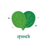 Cute vector cartoon illustraton of spinach isolated on white background. - 254733799