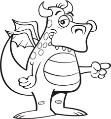 Black and white illustration of a winged dragon pointing.