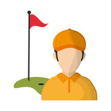 Golf player with flag and hole avatar