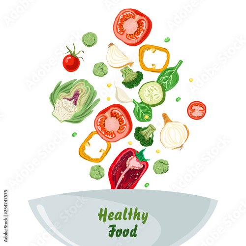 Bowl of vegetable salad with peper, tomato, onion and cucumber. Healthy food