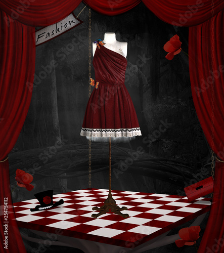 Fashion room in a surreal scenery – 3D illustration