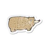 retro distressed sticker of a funny cartoon bear