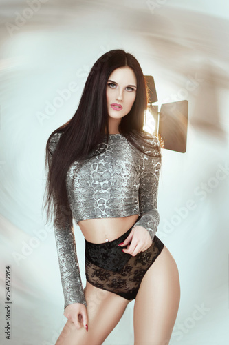 obraz PCV Beautiful brunette girl with black hair in black lingerie