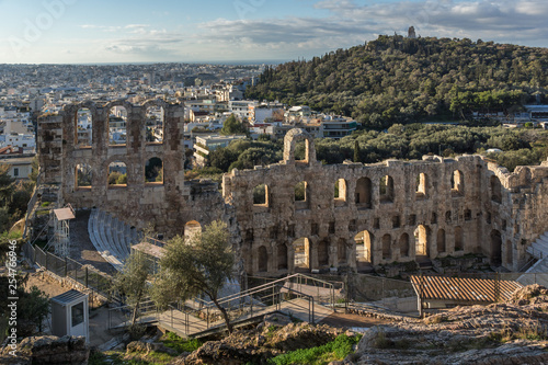 mata magnetyczna Ruins of Odeon of Herodes Atticus in the Acropolis of Athens, Attica, Greece