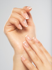 Beautiful female hands. Woman hands with beautiful french manicure, nails.