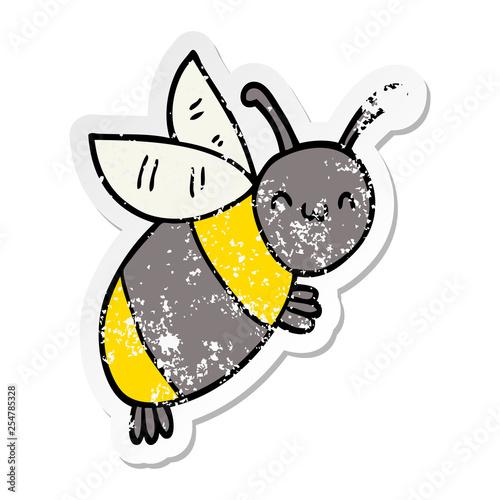 distressed sticker of a cute cartoon bee