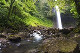 Beautiful Cascading Waterfall in Costa Rica Tropical Rainforest Jungle near La Fortuna in Arenal National Park