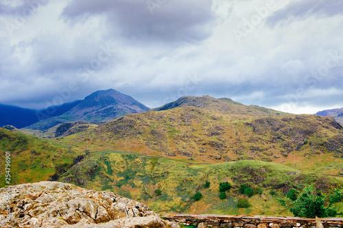 fototapeta na ścianę Landscape with mountains at Snowdonia National Park UK