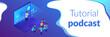 Webinar isometric 3D banner header.