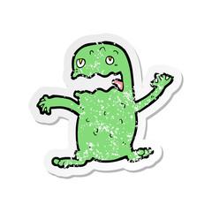 retro distressed sticker of a cartoon funny frog