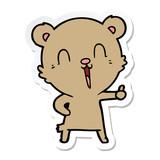 sticker of a happy laughing cartoon bear