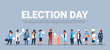election day concept different occupations voters casting ballots at polling place during voting mix race people putting paper ballot in box full length flat horizontal copy space