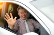 Senior male driving
