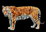 Abstract Tiger on black background.