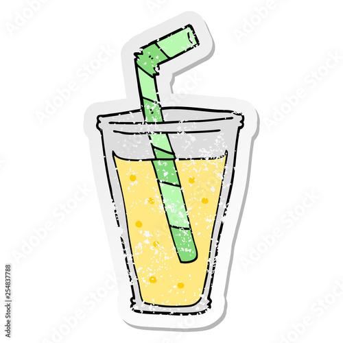 distressed sticker of a cartoon fizzy drink © lineartestpilot