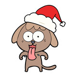 cute line drawing of a dog wearing santa hat