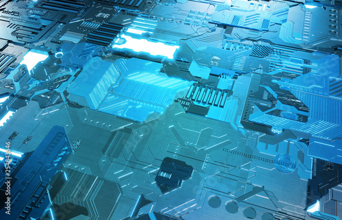 Futuristic blue tech panel background with lots of details
