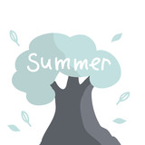 Summer. White letters. Tree in cartoon style.