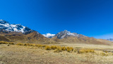 Snowy peaks of the Andes on the mountain pass