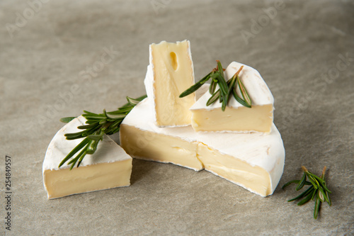 Cheese camembert or brie with fresh rosemary - 254849557