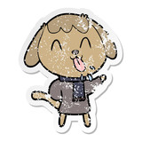 distressed sticker of a cute cartoon dog