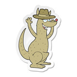 sticker of a cartoon kangaroo