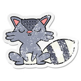 distressed sticker of a cute cartoon raccoon