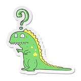 Fototapeta Dinusie - sticker of a cartoon confused dinosaur © lineartestpilot