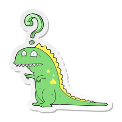 sticker of a cartoon confused dinosaur