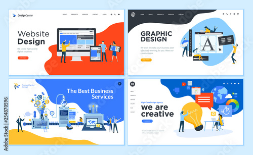 Set of flat design web page templates of graphic design, website design and development, social media, business service. Modern vector illustration concepts for website and mobile website development © PureSolution