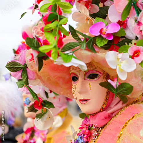 traditional venice carnival, mask and flowers