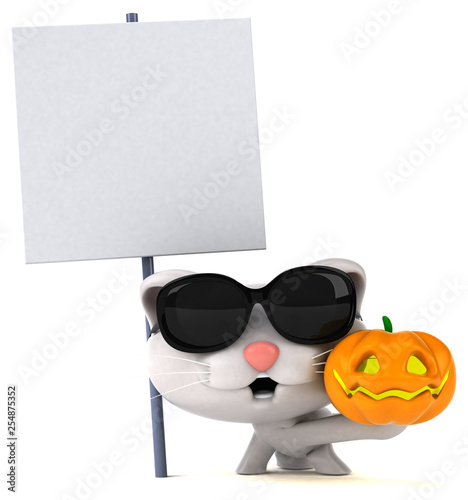 Fun cat - 3D Illustration - 254875352