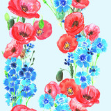 Seamless pattern with poppies and cornflowers. Watercolor.