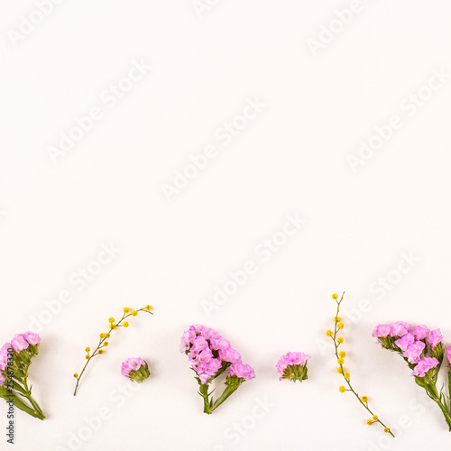 Flowers on a white background - hello spring and hello summer