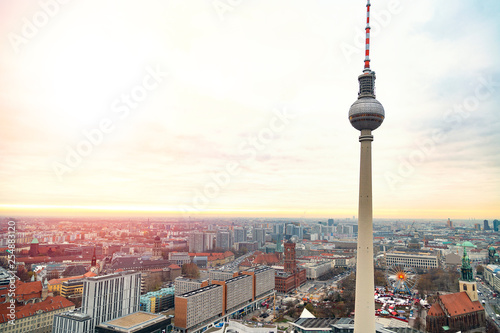 Top view of Television tower Fernsehturm in Berlin © pavelgulea