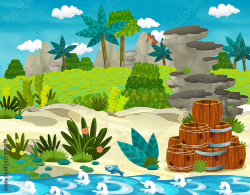 cartoon scene with beach shore with wooden traditional barrels on some tropical island - illustration for children