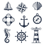 Set of marine nautical icons