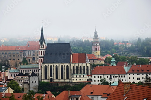 obraz lub plakat View of the town of Czech Krumlov, registered in the UNESCO World Heritage List, Slide-Church