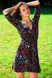 Leinwanddruck Bild - Portrait of beautiful young happy woman