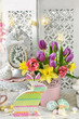 vintage style easter decoration of home interior - 254900571