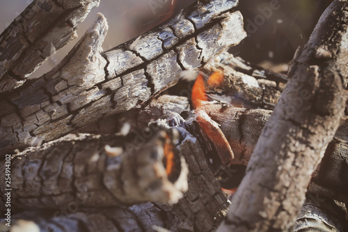 The fire in the brazier burns in nature, in the mountains.