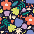 Seamless pattern with hand drawn flowers - 254916795