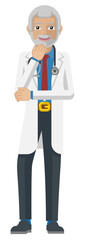A mature doctor healthcare infographic cartoon character mascot © Christos Georghiou
