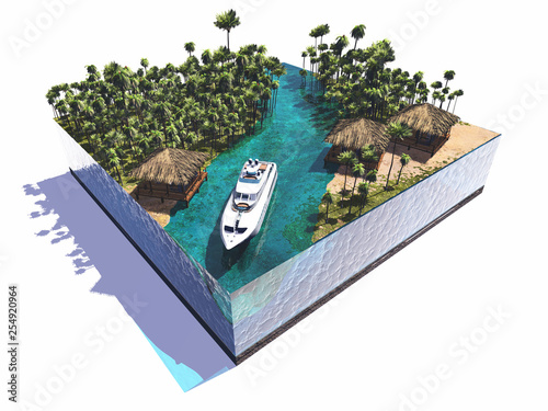 Model of the island with yacht.,3d render