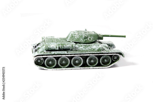 Vintage Used Child's Toy Tank On White Background © shellystill