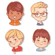 Set with boy's faces. Userpics for blog. Avatar collection of boy faces. Vector illustration of different  kids  portraits in circle. Various color of hair, eyes, skin, nation. Vector illustration. - 254951148