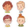 Set with boy's faces. Userpics for blog. Avatar collection of boy faces. Vector illustration of different  kids  portraits in circle. Various color of hair, eyes, skin, nation. Vector illustration. - 254951151