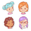 Set with girl's faces. Userpics for blog. Avatar collection of woman faces. Vector illustration of different  girl portraits in circle. Various color of hair, eyes, skin. Vector illustration. - 254951353