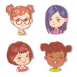 Set with girl's faces. Userpics for blog. Avatar collection of woman faces. Vector illustration of different  girl portraits in circle. Various color of hair, eyes, skin. Vector illustration. - 254951378